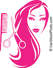 beautiful girl with scissors - graphic silhouette beautiful...