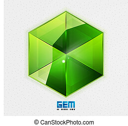 Green gem design template - Gem design template Vector...