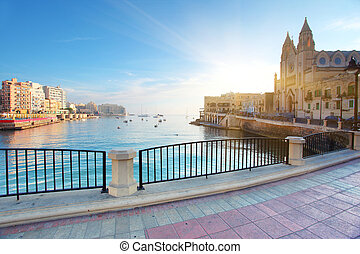 Malta - Fantastic landscape on the seaside. St. Julian's...