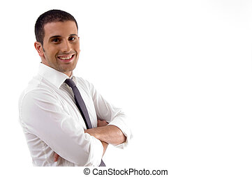 handsome pose of young attorney against white background