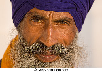 Sikh man in Amritsar, India - Portrait of Indian sikh man in...