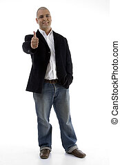 businessman with thumbs up - standing businessman with...