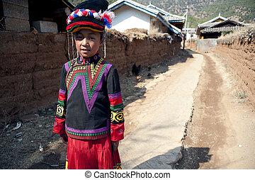 China, Yunnan Yi little girl