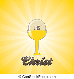 jesus christ icon over yellow background vector illustration...