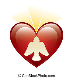 holy Spirit icon over heart background. vector illustration