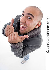 happy man showing thumbs up on an isolated background