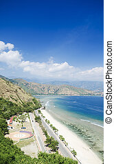 cristo rei beach in east timor - cristo rei beach near dili...
