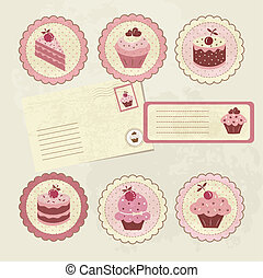 Vintage set for scrapbooking - Vintage set with cakes for...