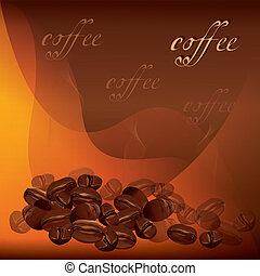 Coffee background with beans vector - Coffee beans...