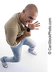 happy caucasian man singing against white background