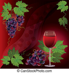 Wine glass and black grape, dark red vector background