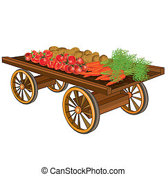 Wooden cart with vegetables, isolated on white background