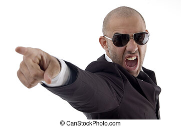 smart young executive shouting with white background