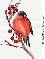 Bullfinch - Watercolor original painting of a bird on a...