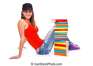 Posing with books