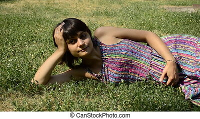 young pregnant woman lying
