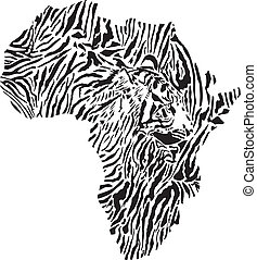 symbol Africa in Tiger camouflage - vector illustration of...