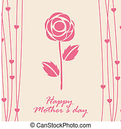 happy mothers day card with rose. vector illustration