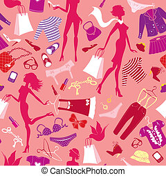 Seamless pattern in pink colours - Silhouettes of...