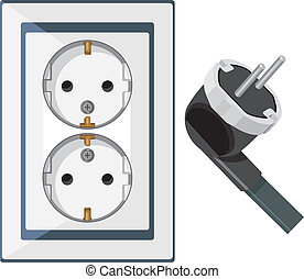 Electrical outlet and plug isolated on the white. Vector...
