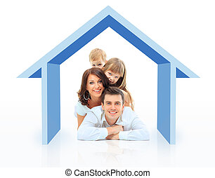 Beautiful family in a house - isolated over a white...