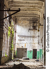 Wasted hall of paper mill in Kalety - Poland - View on old...
