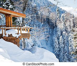 madeira, esqui, chalé, neve, montanha, vista