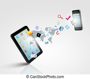 Modern communication technology illustration with mobile...