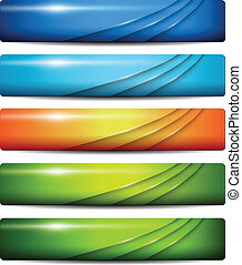 Banners, headers colorful glossy, vector