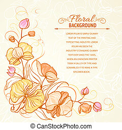 Sepia grunge background with orchid imprint Vector...