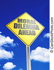 Moral dilemma ahead - Rendered artwork with blue sky as...