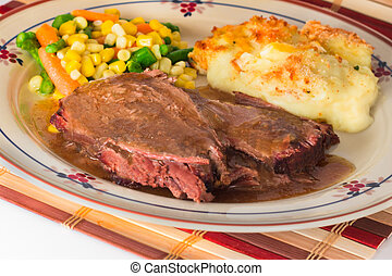 Pot Roast Dinner - Heart Pot Roast Dinner with mashed...