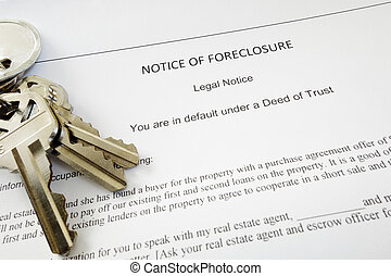 foreclosure keys - Bank Notice of Foreclosure document and...