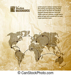 World map in vintage pattern - World map with track lines in...