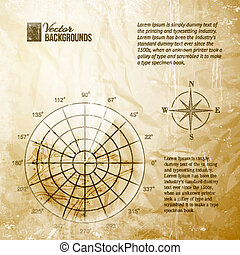 Vintage radar screen over grid lines and map. Vector...