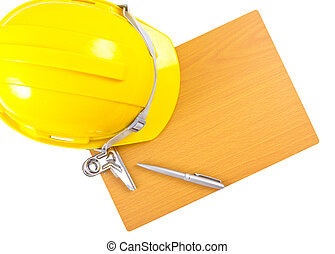 Safety hand and wood working board with white background