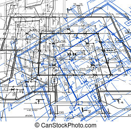 Blueprint abstract background. Vector - Blueprint of house...