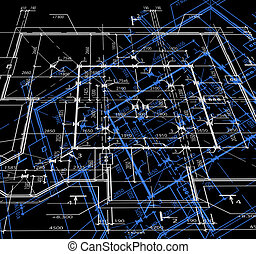 Blueprint abstract dark background. Vector
