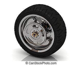 Black wheel of a bike
