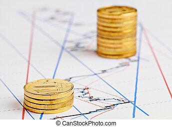 黃金, 金融, 硬幣, 圖表, 上升, 堆