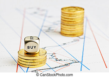 立方, 金融, 硬幣, 圖表, 購買, 上升, 骰子, 詞, 堆