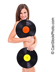 Girl with vinyl disc - Nude girl with vinyl disc in her...