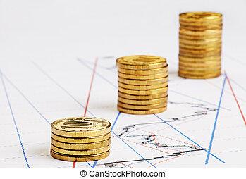 上升, 硬幣, 金融, 圖表, 堆