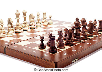 Wooden Chessboard - A wooden chess board with peaces ready...