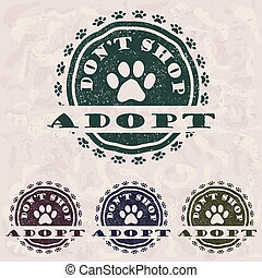 adopt dont shop - illustration of grunge vintage pet related...