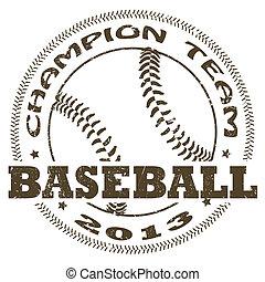 baseball label - illustration of vintage baseball label