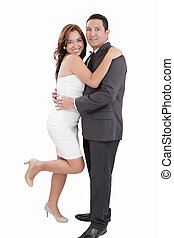 Young happy couple love smiling, standing full length portrait, looking at camera, isolated over white background