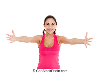 sport fitness woman, excited young girl raised up arms hands...