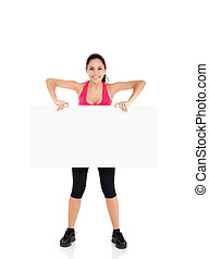 sport fitness woman hold blank board advertisement with...