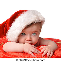 Santa Clause Baby with Hat on White